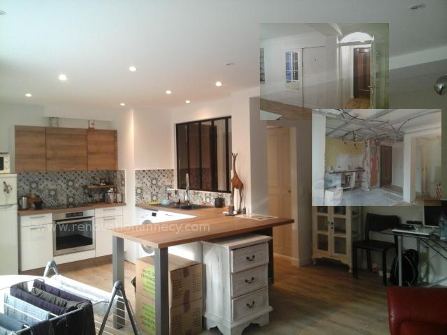 R agencement appartement ouverture cuisine sur salon s jour r novation annecy - Ouverture cuisine sur salon ...